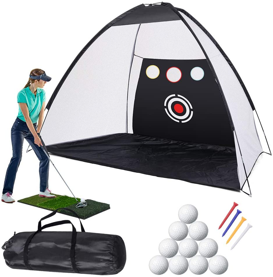 Golf Practice Net Golf Hitting Nets with Chipping Target Pockets,10 x 7ft Golf Training Aids Practice Net Set, 10 Golf Balls 4 Golf Tees, 3 in 1 Golf Hitting Mat,Indoor and Outdoor Golf Training
