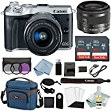 Canon EOS M6 Digital Camera (Silver) with EF-M 15–45mm f/3.5–6.3 IS STM Lens + Canon M6 Advanced Accessory Bundle - M6 Canon Mirrorless Camera Kit Includes EVERYTHING You Need To Get Started