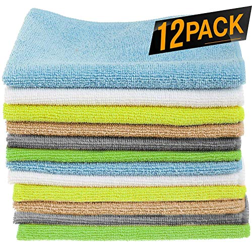 iCooker 12 Pack Microfiber Cloths Cleaning Supplies [Get Lint-free Polished Results] Micro Fiber Cleaning Towels, Chemical Free Kitchen Towel, Clean windows & Cars [Highly Absorbent] – 40×30 CM (LXD)