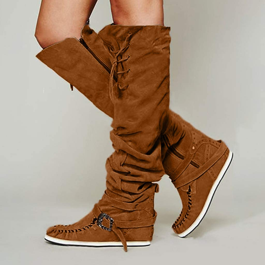 Simayixxch Women Vintage Knee Boots Round Toe Flat Heel Buckle Lace-Up Zipper Over The Knee Boots Suede Party Long Boots