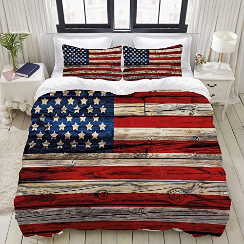 VANKINE 3PC Bedding Set Wooden Planks Painted as United States Flag Patriotic Country Style 1 Duvet Cover with 2 Matching Pillowcases Apartment Bedroom Decor Full/Queen