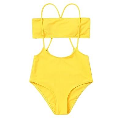 6983ceff5709a ZAFUL Women's Two Piece Ribbed Bandeau Top and High Waisted Slip Bikini  Bottoms (Yellow,