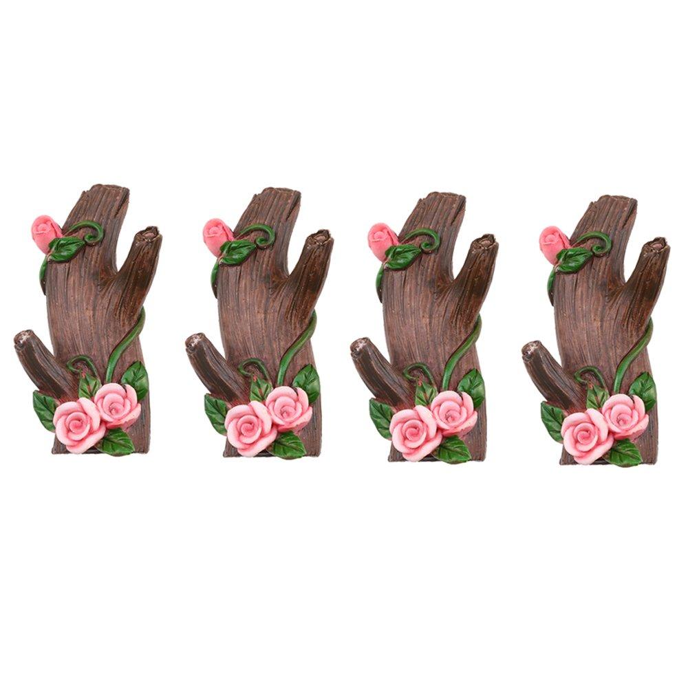 WCIC Wood Adhesive Hook, Set of 4 Wall Mount Tree Branch Key Hook Decorative Flowers Hanger Strong Waterproof for Coat Keys Bags Brown