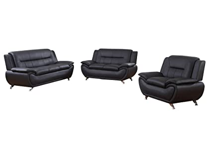Home Garden Collections 3 Piece Faux Leather Contemporary Living Room Sofa,  Love Seat, Chair Set, Black Product SKU: HF3021LS3
