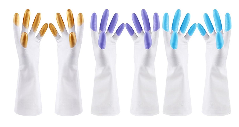 3ペアのセット防水再利用可能なDishwashingニトリル手袋for car-washingランドリー家庭用クリーニングMedium B07D8MH64H