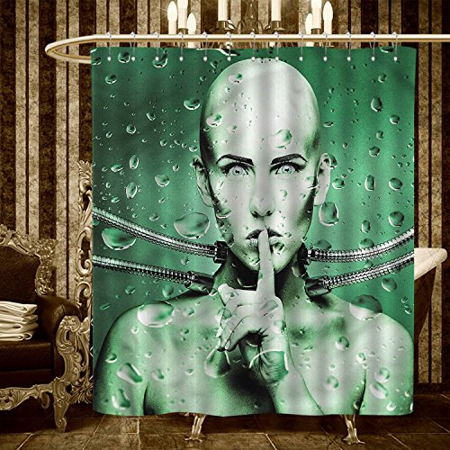longbuyer Futuristic Shower Curtains Mildew Resistant Robot Girl with Metal Cables In a Glass Underwater Print Bathroom Decor Sets with Hooks 66