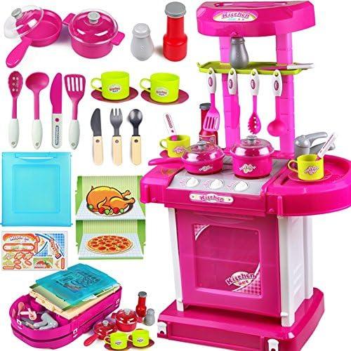 LZ おもちゃ 子供のおもちゃの女の子料理のおもちゃの台所のおもちゃセット食器照明の効果 子供のおもちゃ (色 : 2)