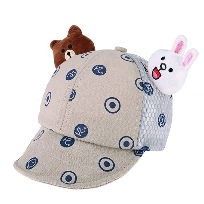 fff92450 amazingdeal Summer Adjustable Cartoon Cute Baby Baseball Cap Kids Boy Girl  Sun Hat/Grey