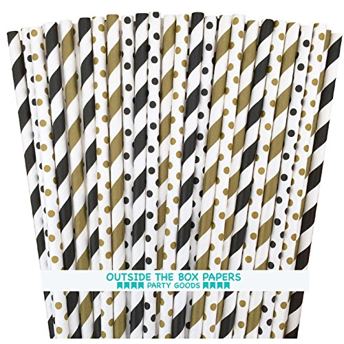 Paper Straws - Black Gold White - Stripe Polka Dot - 7.75 Inches - 100 Pack - Outside the Box Papers Brand