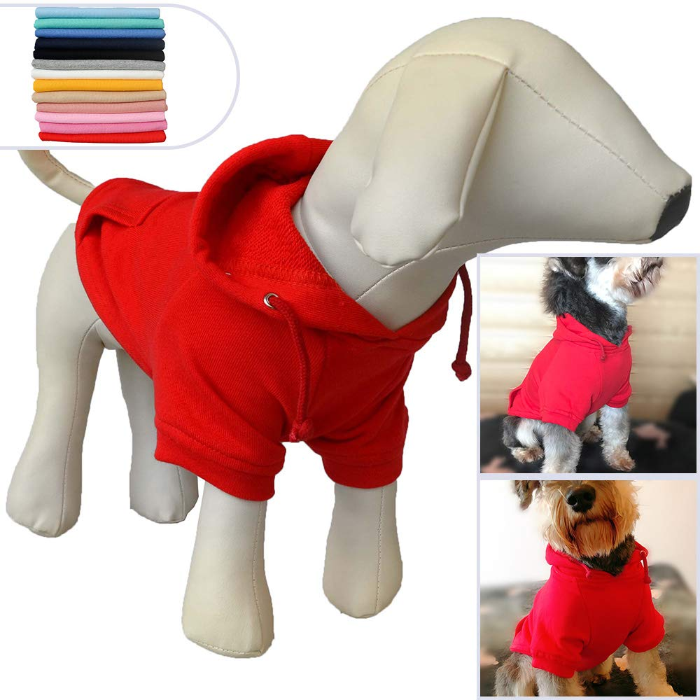 Red XL Red XL Pet Clothing Clothes Dog Coat Hoodies Winter Autumn Sweatshirt for Small Middle Large Size Dogs 11 colors 100% Cotton 2018 New (XL, Red)