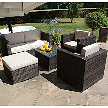 san diego dallas baby rattan garden furniture brown 5 piece sofa set rh amazon co uk