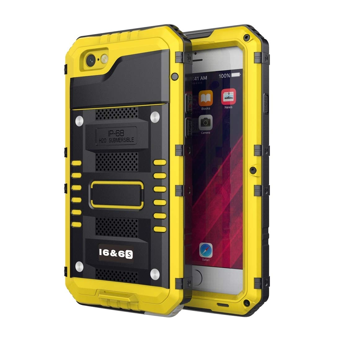 Durable Durable Waterproof Dustproof Shockproof Zinc Alloy + Silicone Case Compatible with iPhone 6 & 6s (Color : Yellow) by ZHENGGUIFANG-PHONE CASE