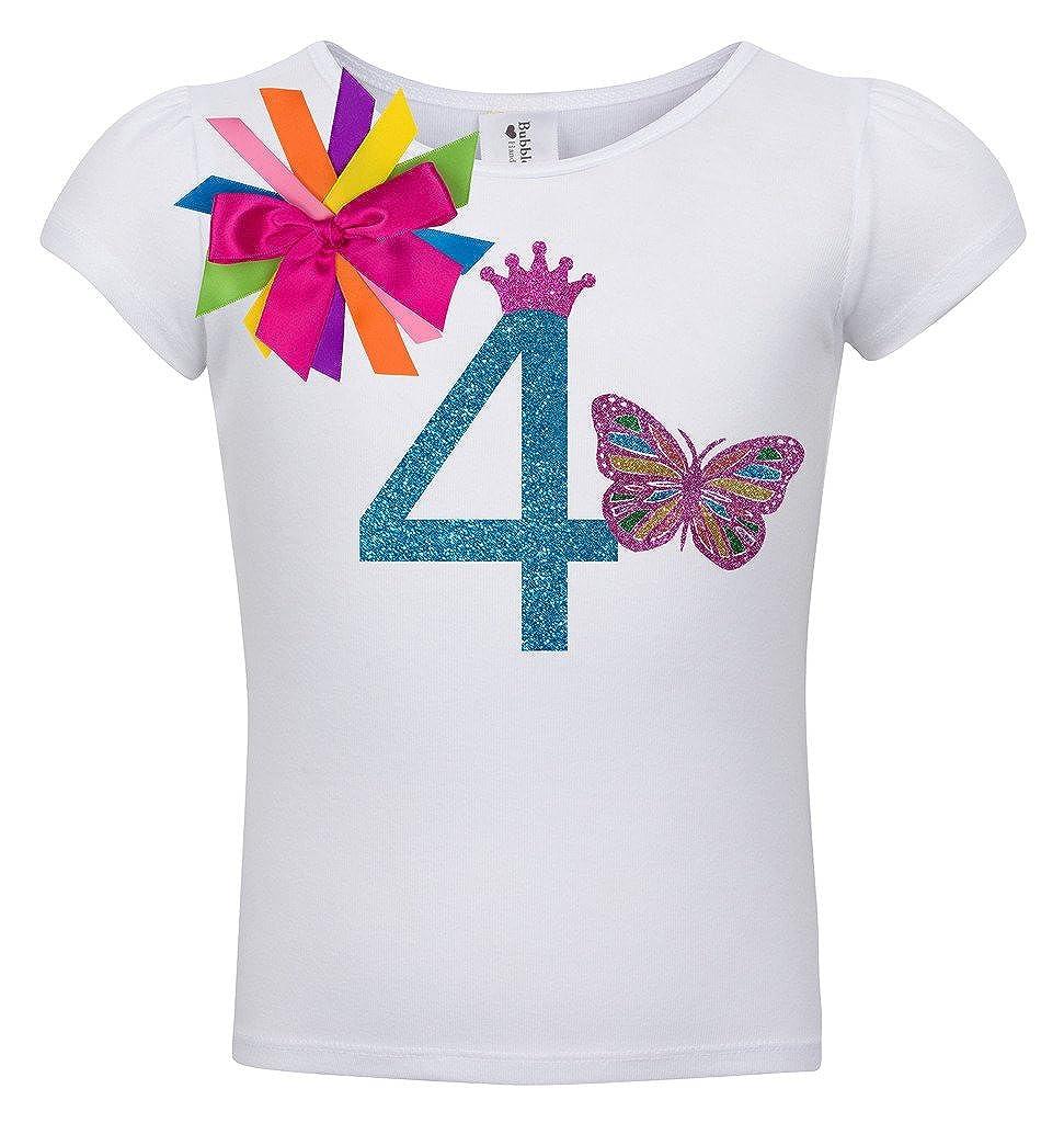Bubblegum Divas Little Girls 4th Birthday Rainbow Monarch Butterfly Shirt