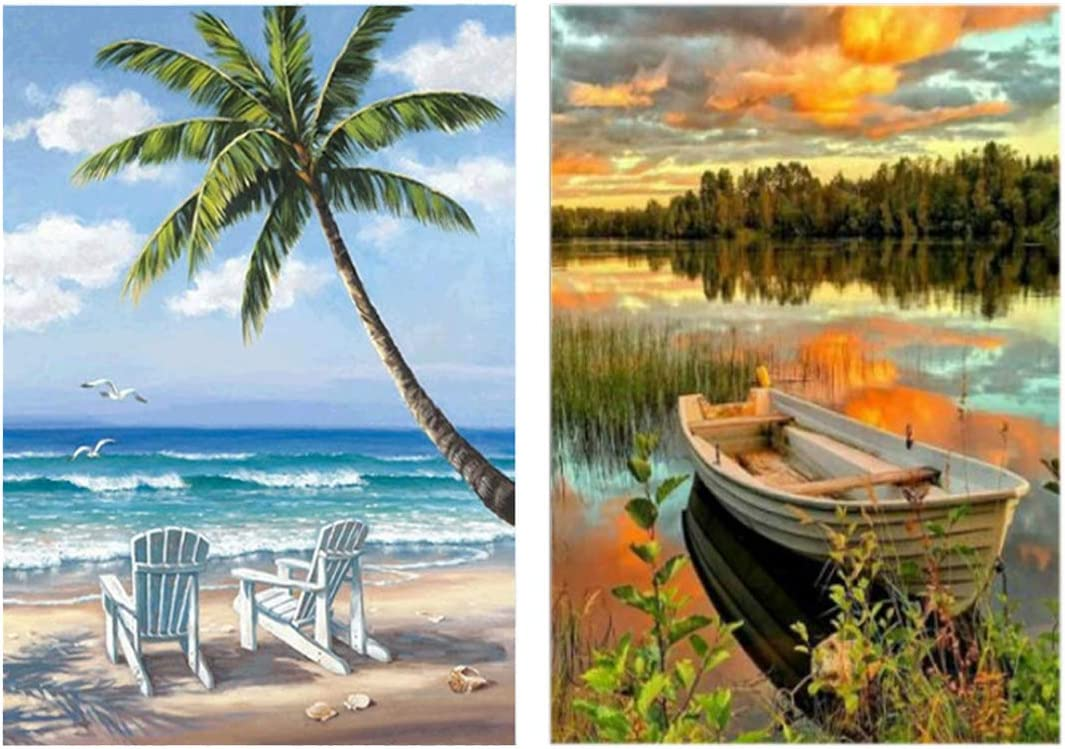 DIY 5D Diamond Painting Kits for Adults Kids Full Drill Round Gem Beads Art Painting for Home Wall Decor 12x16inch//30x40cm Seaside