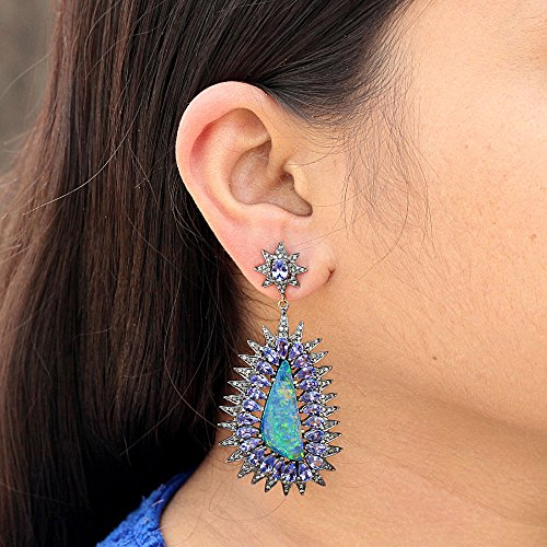 14k Gold Tanzanite Gemstone Opal Designer Dangle Earrings Sterling Silver Diamond Pave Jewelry (Pave Tanzanite Earrings)