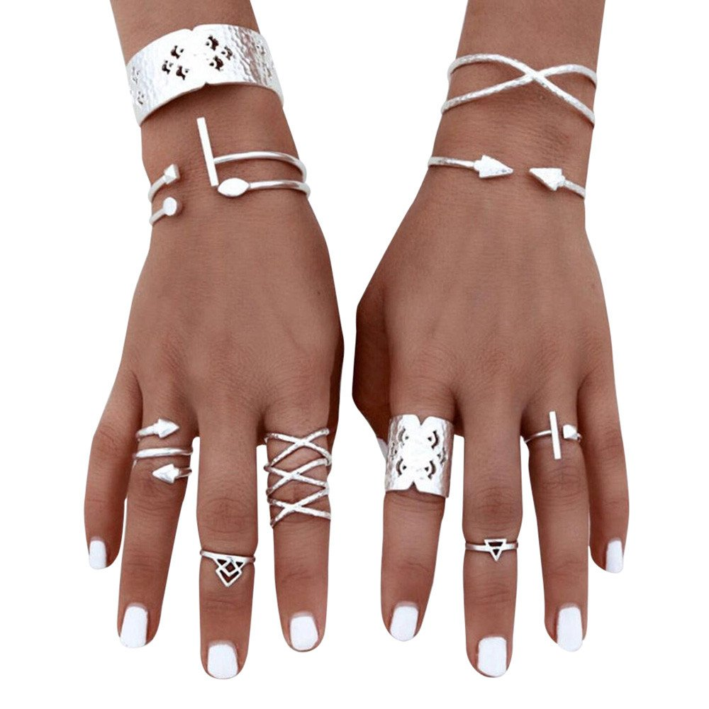 HUAMING 6pcs Women Bohemian Vintage Rings Silver Stack Rings Above Knuckle Rings Set Open Adjustable (Silver)