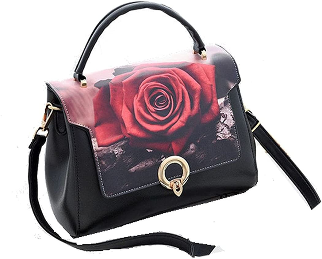 Womens Leather Black and Rose HandBag Purse Flap Closure and Zipper and Shoulder Bag