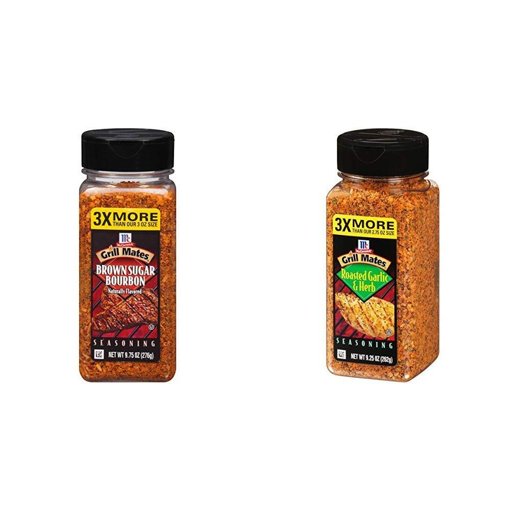 McCormick Grill Mates Brown Sugar Bourbon Seasoning, 9.75 oz & McCormick Grill Mates Roasted Garlic & Herb Seasoning, 9.25 Ounce (Pack of 1)
