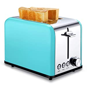 Toaster 2 Slice, Retro Small Toaster with Bagel, Cancel, Defrost Function, Extra Wide Slot Compact Stainless Steel Toasters for Bread Waffles, Turquoise/Aqua