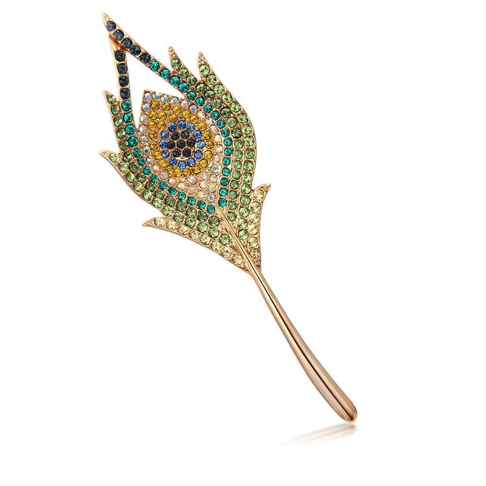 Kemstone Rose Gold Peacock Feather Brooch Pin for Women
