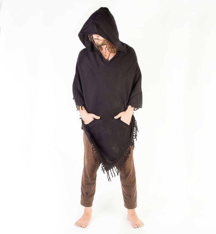 -Unisex Black Tribal Hoodie Poncho