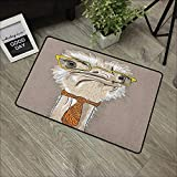 Corridor Door mat W16 x L24 INCH Indie,Sketch Portrait of Funny Modern Ostrich Bird with Yellow Eyeglasses and Tie, Taupe Beige Yellow Non-Slip Door Mat Carpet