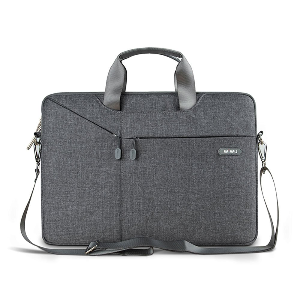 "WIWU 13-13.3 Inch Computer Messenger Bag, Waterproof Laptop Shoulder Bag for MacBook Air 13.3 / 13"" MacBook Pro 2018/2017/2016, 12.3"" Surface Pro 3/4/5 with Removable Padded Shoulder Strap -Grey GM4229MB13"