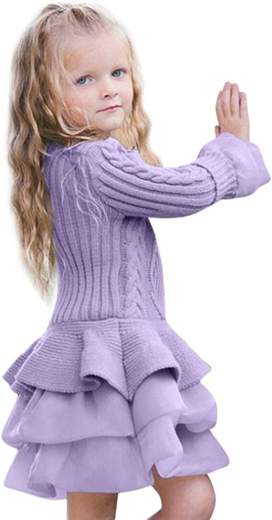 Sunbona Baby Girls Princess Cute Knitted Sweater Pullover Dress Outerwear Coat