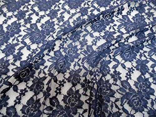 Discount Fabric Stretch Mesh Lace Navy Embroidered Floral Sheer D501