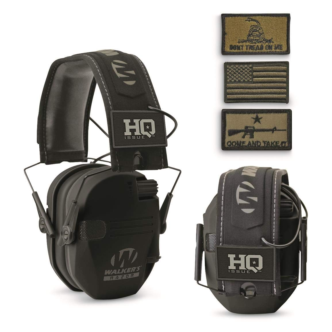 HQ Issue Walker's Patriot Series Electronic Ear Muffs, Black