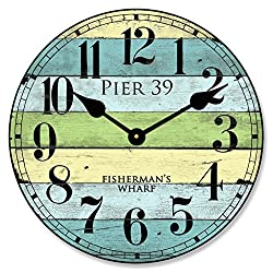 Pier 39 Wall Clock, Available in 8 sizes, Most Sizes Ship 2 - 3 days, Whisper Quiet.