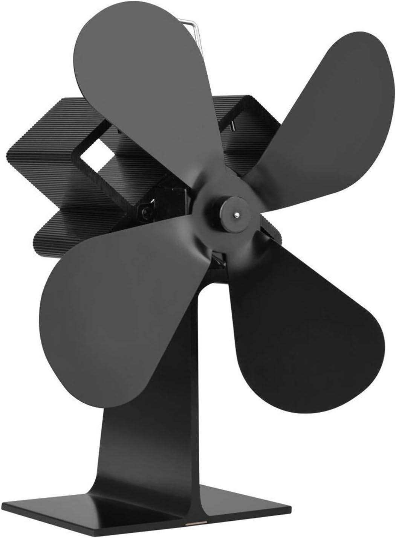 AFYH Ventilador de la Chimenea, Calefacción Sistema de circulación de Aire Caliente autoalimentado y Resistente a Altas temperaturas 4 Cuchillas calefacción eficiente