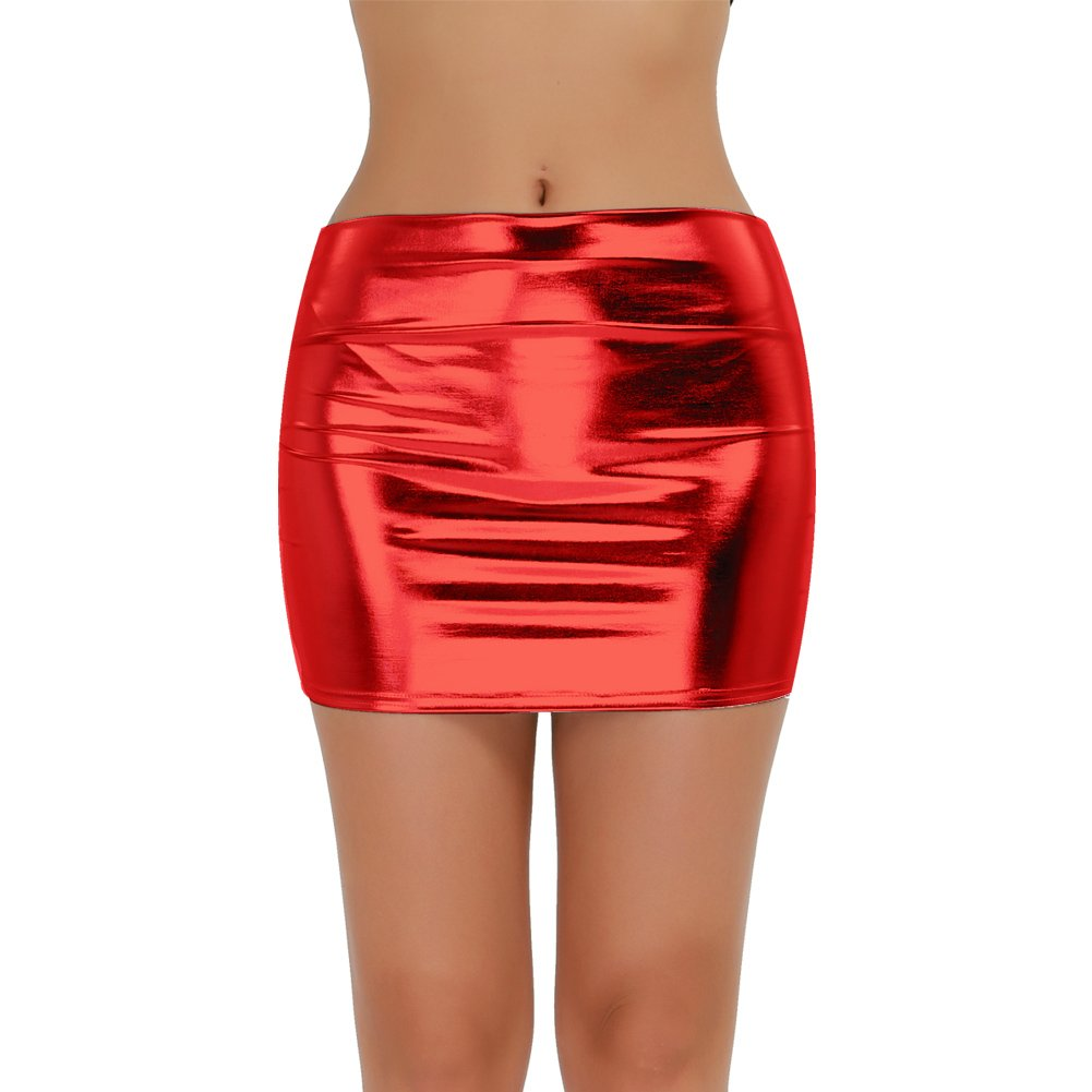 TiaoBug Womens Shiny Metallic Pleated Clubwear Party Mini Skirt with Inside Panty