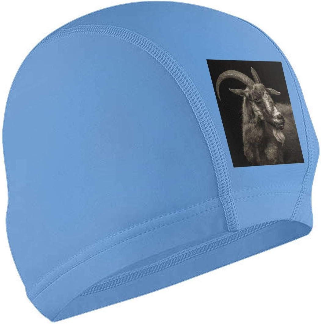TTIWEP-A Black Goat Adult Pu Bathing Cap Fashion Elasticity Swimming Caps