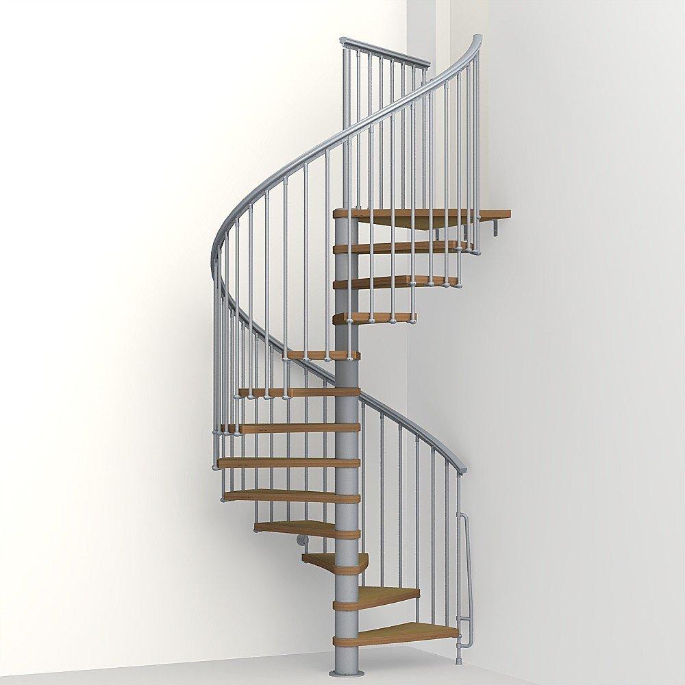 Arke Nice1 Wood Tread Spiral Staircase Kits - 102-3/4'' to 120-1/2'' Height - Satin GREY - Adjustable, Interior Stairway (51'' Diameter)