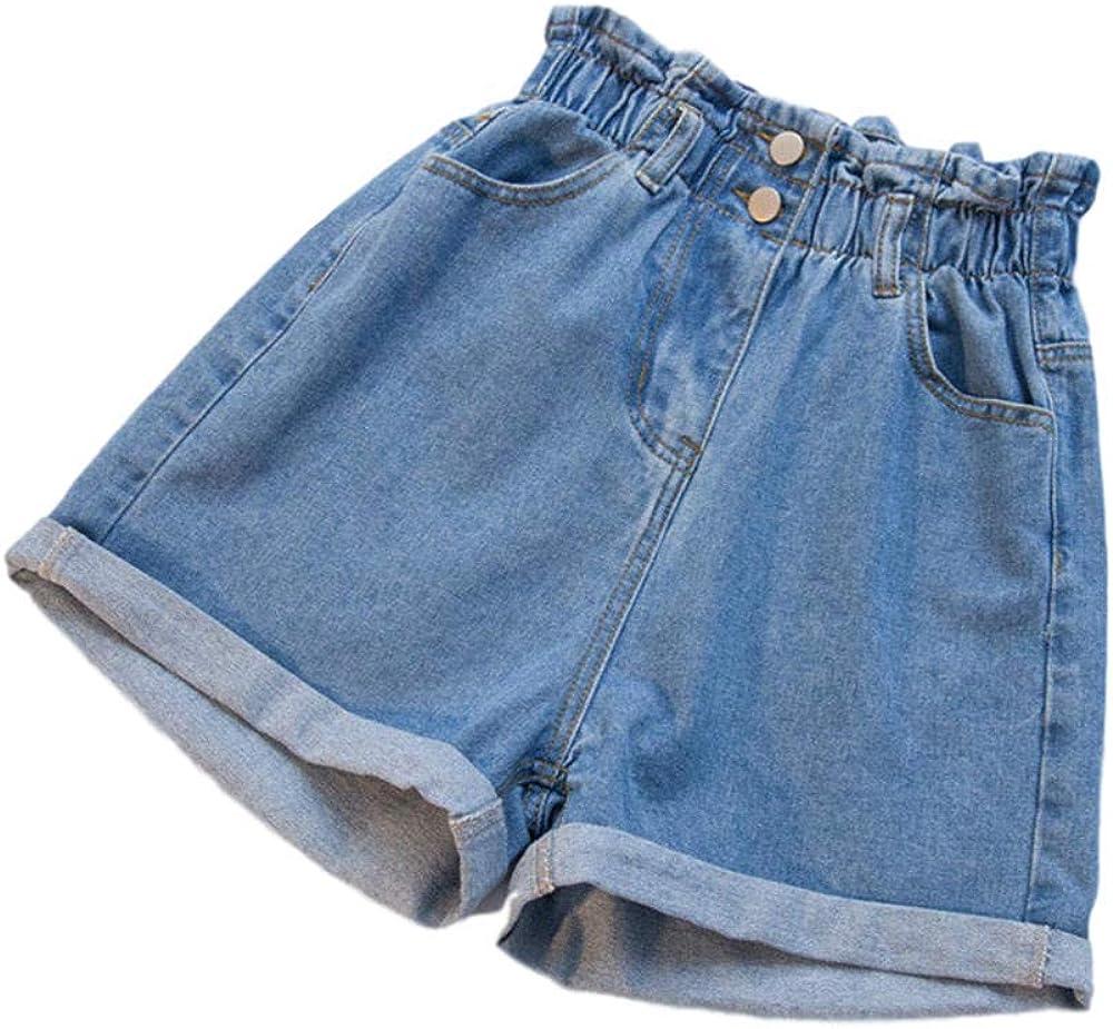 Pantaloncini di Jeans da Donna Neri Estivi Taglie Forti Pantaloncini a Vita Alta Bianchi a Vita Alta Jeans Elastici per Donna