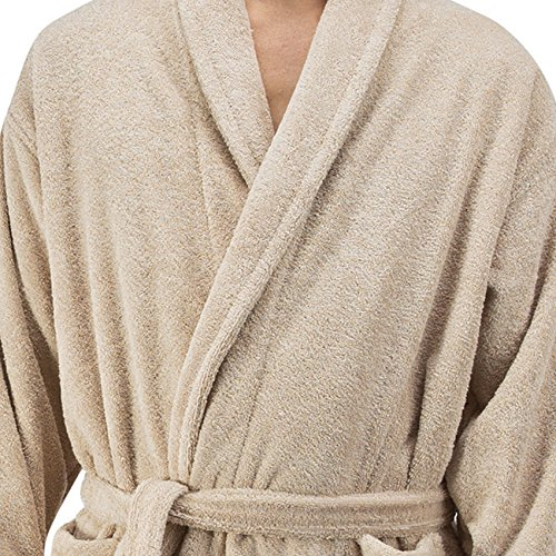 Comfy Robes Personalized Men's 16 oz. Turkish Terry Cotton Bathrobe, L/XL (OSFM) Tall Beige by Comfy Robes (Image #1)
