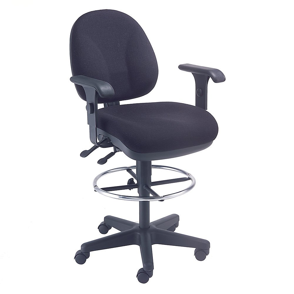 Paramount Synchro Task Stool With 360 Degree Footrest - 24'' To 29'' Seat Height - With T-Arms - Black - Black