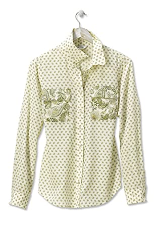 4e6f2628715a4 Orvis Mixed-Print Silk Camp Shirt at Amazon Women s Clothing store