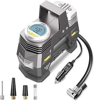 DC 12 V Digital Reifenf/üller Pumpe Kompressor Air Tool 150 PSI Auto Tragbare Reifenf/üller mit Messger/ät LED Licht f/ür Autos B/älle Fahrr/äder mit 3 Adapter