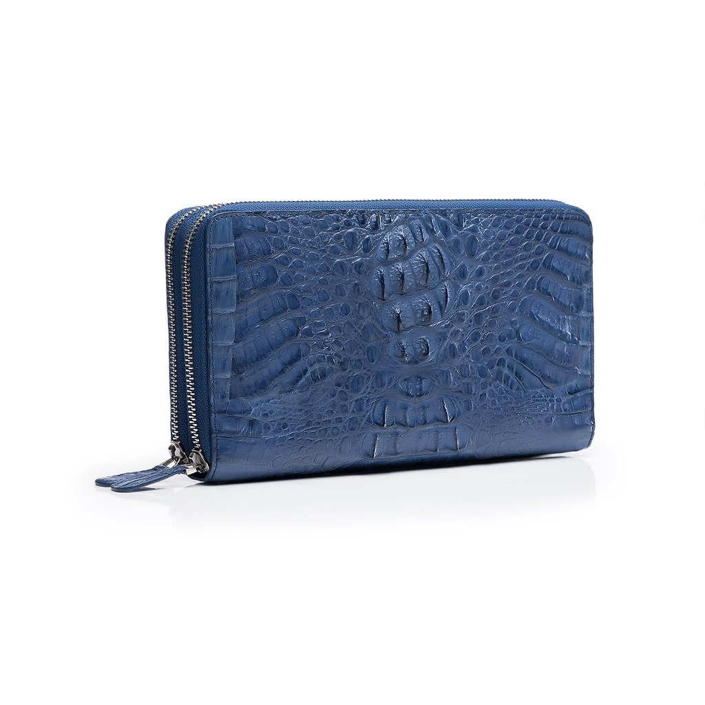 ZRO Men's Portable Large Capacity Crocodile Leather Long Wallet Clutch BLUE