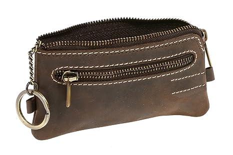 Monedero-llavero para señores y señoras Vintage Style LEAS, Piel auténtica, marrón - LEAS Vintage-Collection