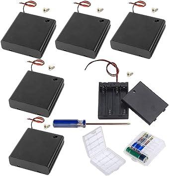 GTIWUNG 8Pcs AA 6V batería Titular Caso Caja de Almacenamiento de la batería de plástico con Interruptor ON/Off, DIY 4 × AA Caja de Pila, Portapilas con Cables de Interruptor: Amazon.es: Electrónica