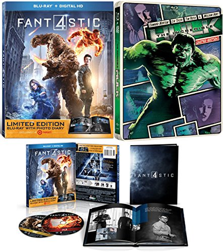 (Marvel Studios Limited Edition Book Pack Fantastic Four 2015 & The Incredible Hulk Blue Ray Steelbook + DVD Limited Edition Collection)