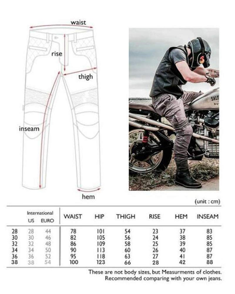 Mens Motorcycle Jean Pants Protection Lining Motorbike Trousers with 2 Pair Protect Pads Jeans ,Green,2XL