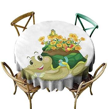 Amazon.com: Round Tablecloth Plastic Reptile,Funny Floral ...