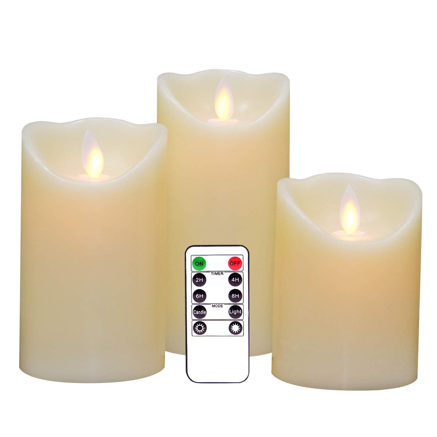 Eldnacele Flameless Candles Pillar Flickering Dancing Flame Battery Operated LED Candles Warm White Set of 3(H4 5'' 6'' X D 3'') Moving Wick, Real Wax Remote Timer Parties Home Decoration