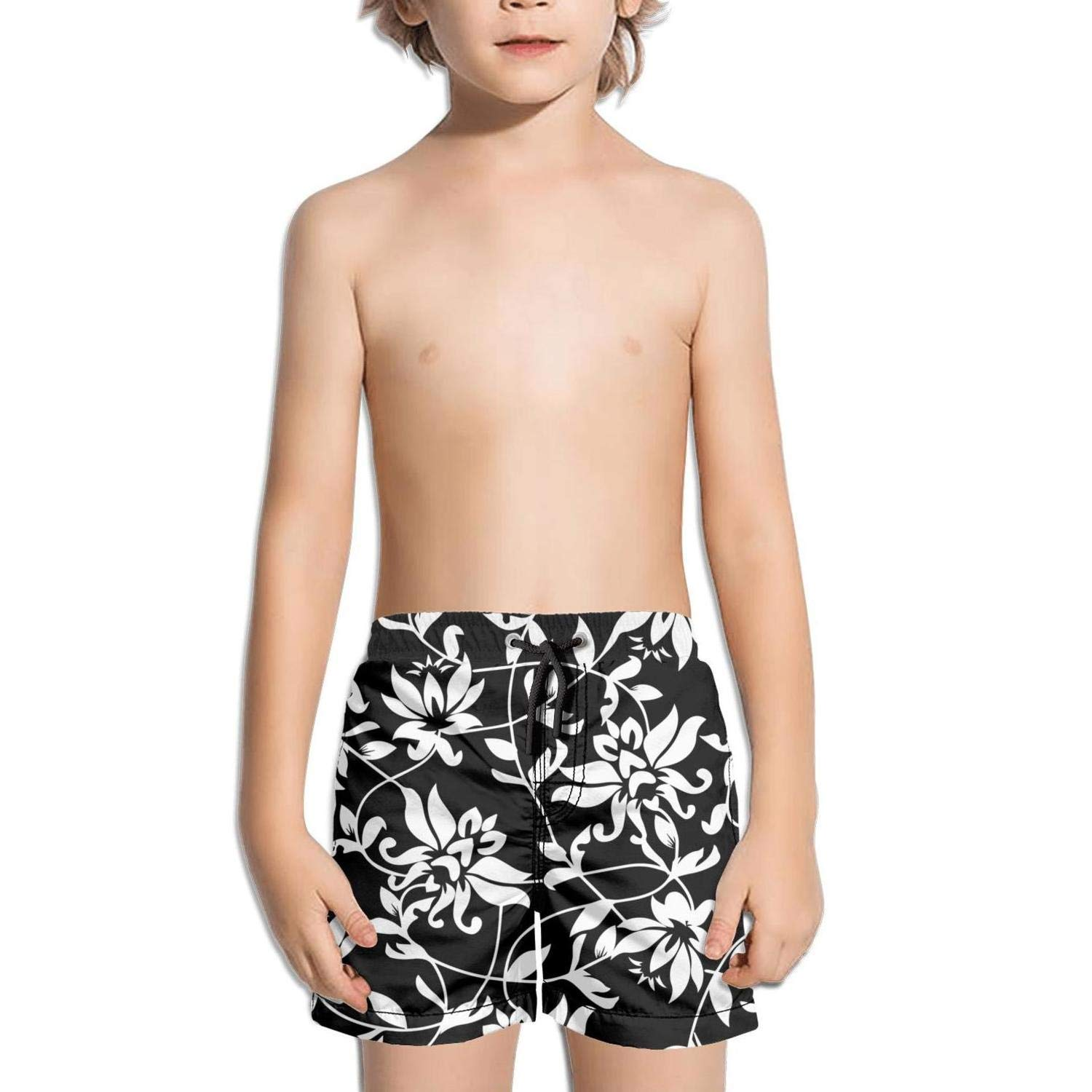 Lenard Hughes Boys Quick Dry Beach Shorts with Pockets Black Beautiful Lotus Flowers Swim Trunks for Summer