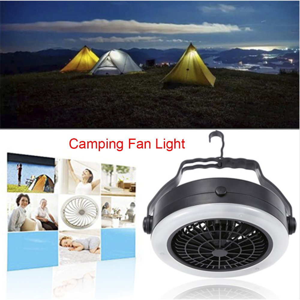 Finlon Portable LED Camping Lantern with Ceiling Fan 18 Super Bright 2-In-1 Light