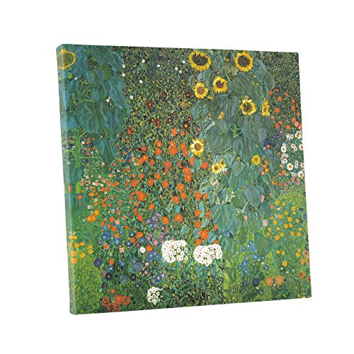 (Niwo ART (TM) - Country Garden with Sunflowers, by Gustav Klimt, Oil painting Reproduction - Giclee Wall Art for Home Decor, Gallery Wrapped, Stretched, Framed Ready to Hang (24